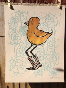 Image of Yellow Birdie print