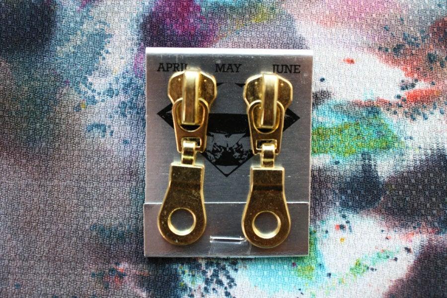 Image of Gold Holes (Big), Zipper Pull Earrings