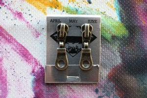 Image of Dark Silver Holes (Small), Zipper Pull Earrings