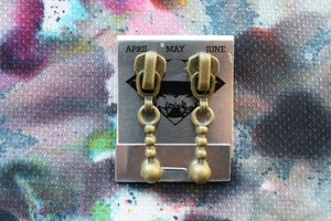 Image of Brass Patina Stacked Spheres, Zipper Pull Earrings