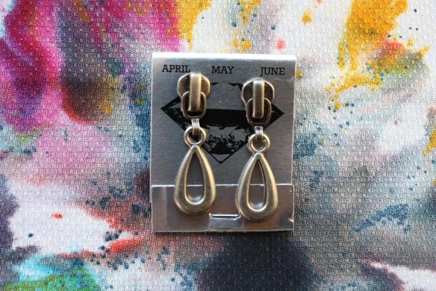 Image of Dark Silver Drops, Zipper Pull Earrings