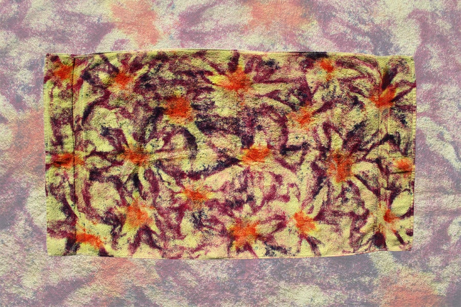 """Image of Beach Towel, Chartreuse """"Fireworks"""" Pattern"""