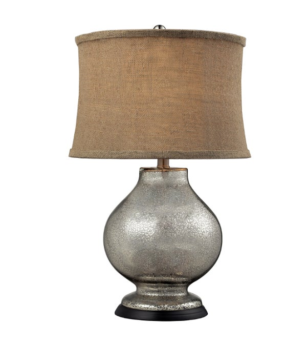 Image of Mercury Silver and Burlap Table Lamp