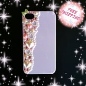 Image of Baby pink and green rhinestone with pearl iPhone 4/4s case