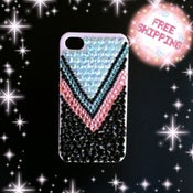 Image of Pink, black and Blue Tribal Print Iphone 4/ 4s case