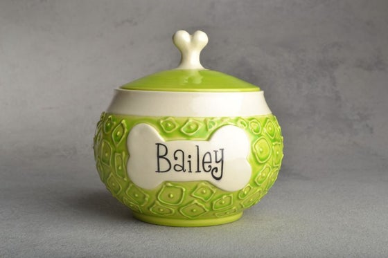 """Image of Dog Treat Jar Hip To Be Squares """"Bailey"""""""
