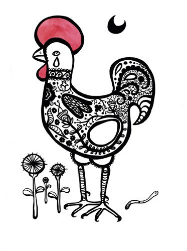 Image of Lucky Fertile Rooster Print