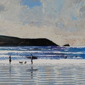Image of Fistral beach - we stood on the beach in the wild air...