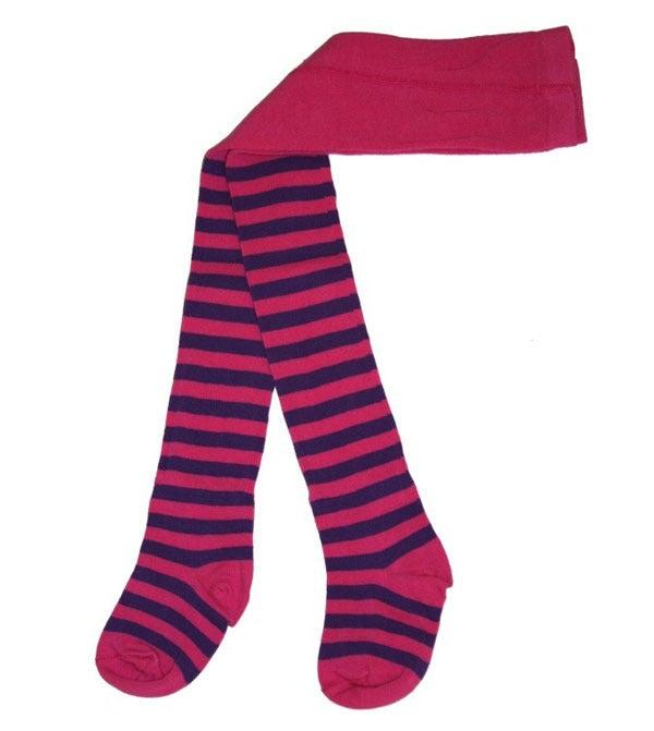 Image of Juliet Tights - Cerise & Purple Stripes