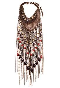Image of Duquette antique brass toned, crystal, Swarovski crystal, garnet, agate and quartz fringed necklace