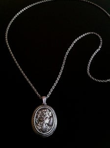Image of Cameo medallion in silver on steel chain