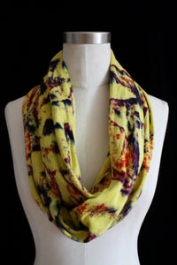 "Image of Circular Scarf, Chartreuse ""Cosmic Lava"" Pattern"