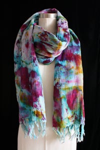 "Image of Handwoven Scarf, Seafoam ""Sickle Spectrum"" Pattern"