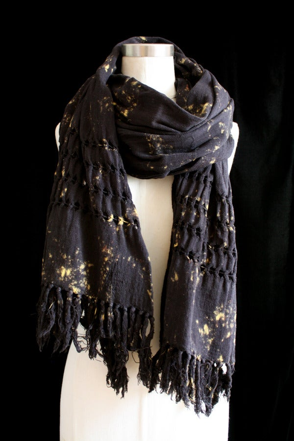 "Image of Handwoven Scarf, Black ""Fire Fly"" Pattern"
