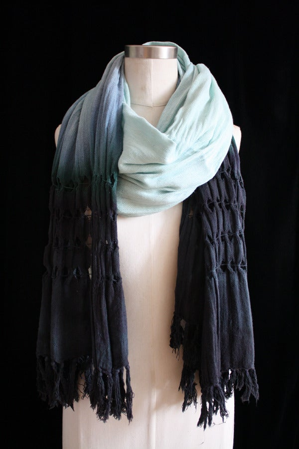 "Image of Handwoven Scarf, Seafoam ""Ombre"" Diamond Pattern"