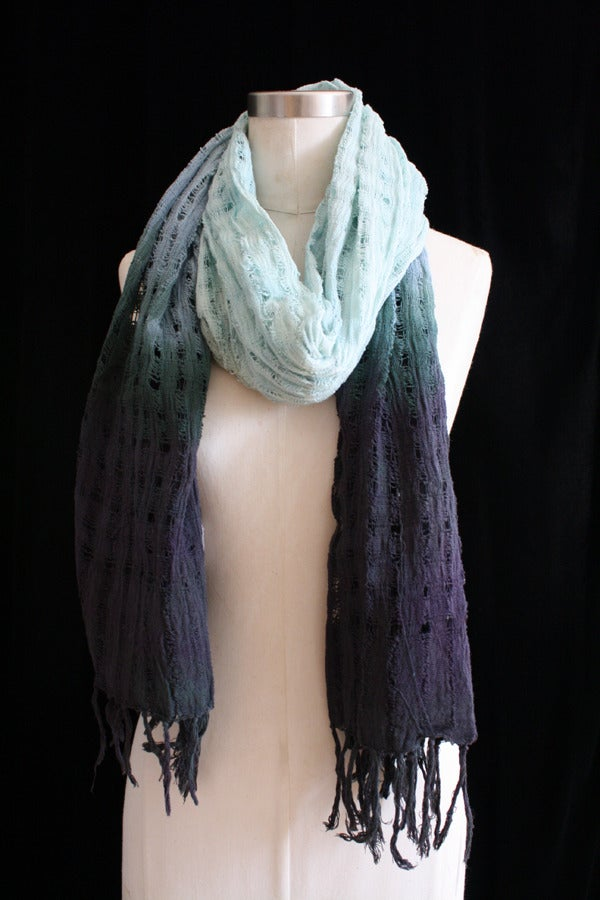 """Image of Handwoven Scarf, Seafoam """"Ombre"""" Checker Pattern"""