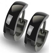 Image of Huggie Polished Black Stainless Steel Earrings
