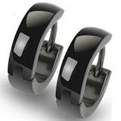 Image of Huggie Polished Black Stainless Steel Earrings