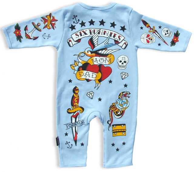 Image of Six Bunnies Playsuit - Old School - Blue