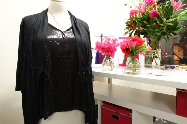 Image of Plus size black stretch sequin singlet