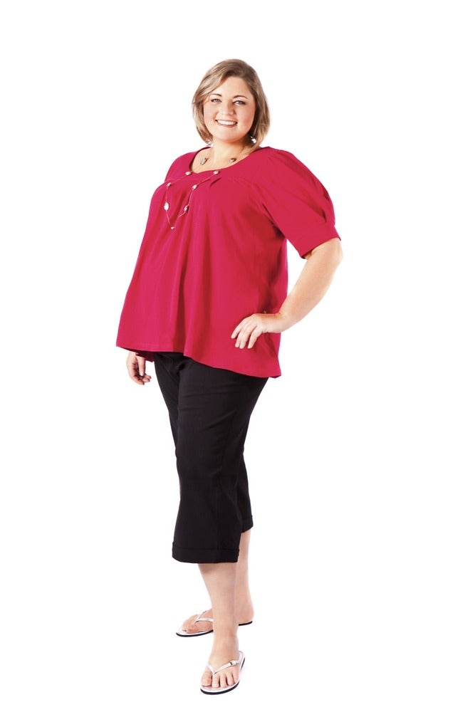 Image of Square neck top with elbow length sleeves (cotton)