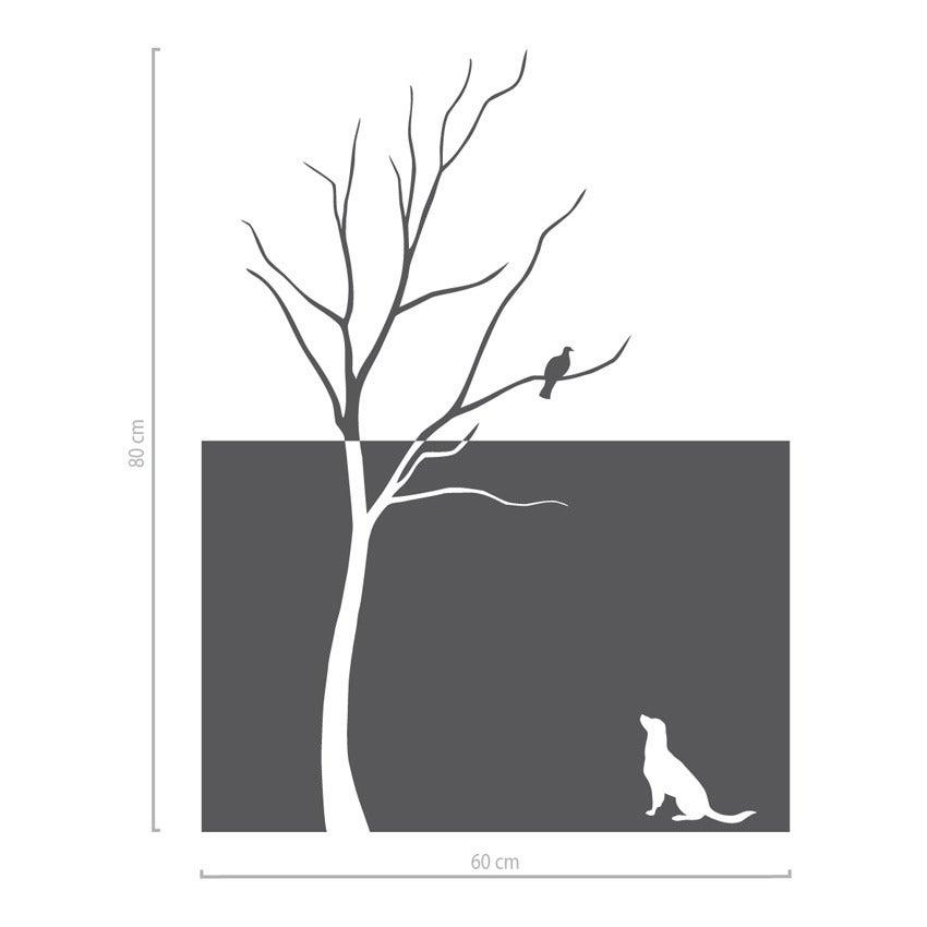Image of Fenstertattoo Glasdekorfolie Baum und Hund