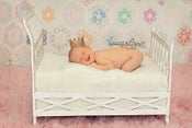 Image of White Distressed Lattice Metal Bed - Vintage Style - Newborn Infant Toddler - NEW