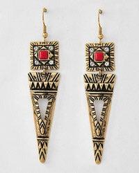 Image of Tribal Triangle Dangle Earrings