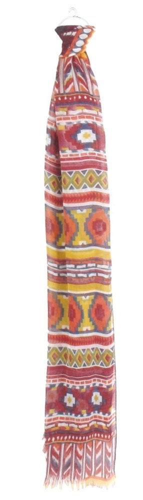 Image of Allover Tribal Print Scarf with Frayed Edge