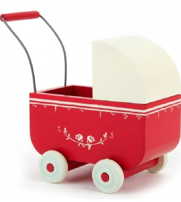 Image of Wooden Pram, Red