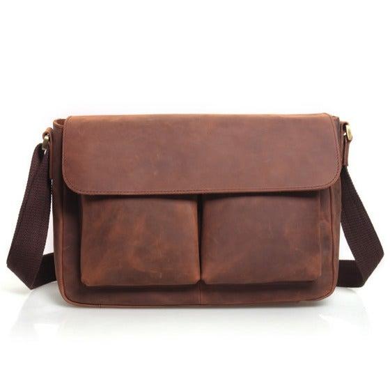 """Image of Vintage Handmade Crazy Horse Leather Messenger Bag / Satchel / 11"""" MacBook 12"""" Laptop Bag (n492)"""