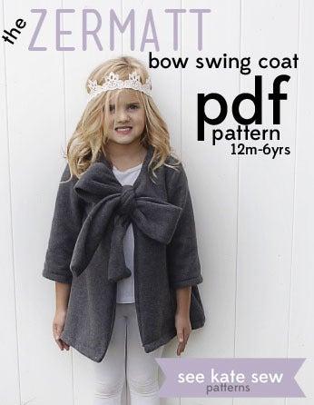 Image of the ZERMATT bow swing coat PDF pattern