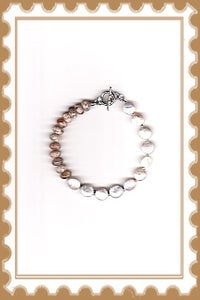 Image of B1233  Freshwater Coin Pearls & Pink River Stone Bracelet