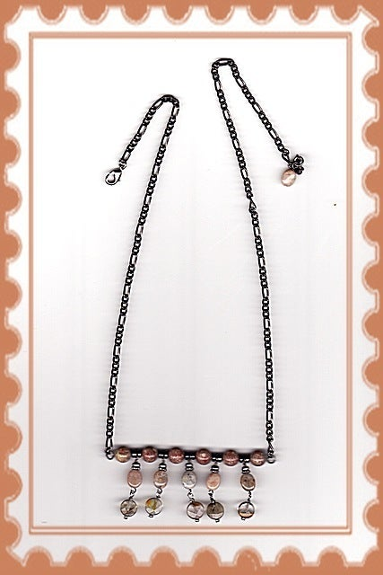 Image of N1209  Flower Jasper & Fire Cherry Quartz Necklace