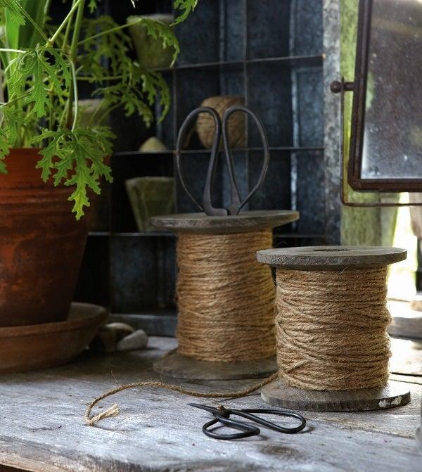 Image of Large Wooden Spool - Linen String & Scissors