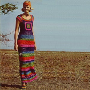 Image of Vintage Crochet Pattern PDF 134 Granny Square Maxi Dress from WonkyZebra