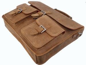 """Image of Vintage Handmade Crazy Horse Leather Briefcase Messenger 13"""" 15"""" MacBook / 13"""" 14"""" Laptop Bag (n89)"""