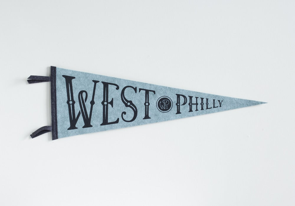 Image of West Philly Pennant - Charcoal Ink