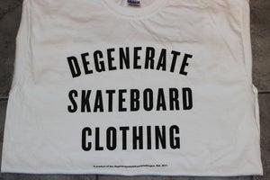 Image of Degenerate 'Varsity' logo t WHITE