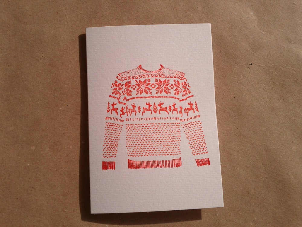 Image of Christmas Card / Red Fairisle Jumper (Letterpress Printed) - A7 size, blank inside