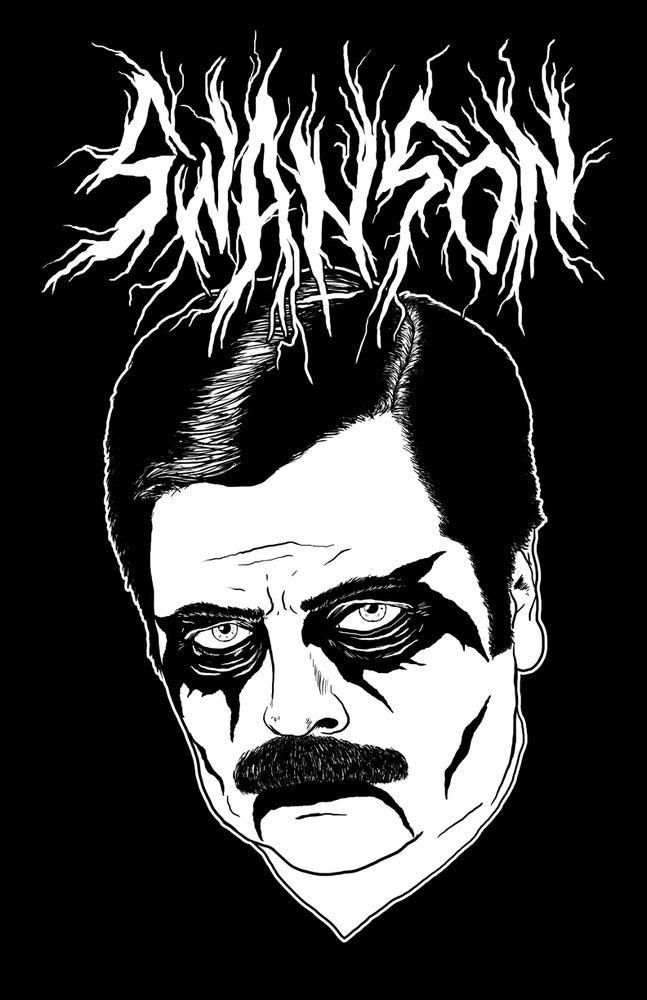 Image of Black Metal Ron Swanson