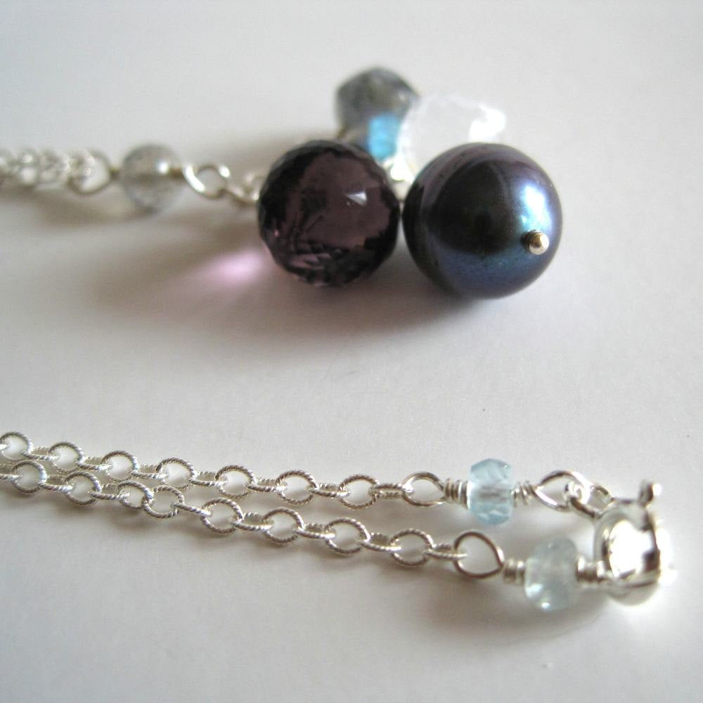Image of Black pearl, gemstone cluster necklace
