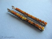 Image of Tortoise - Beaded Bobby Pins (Large-Size)
