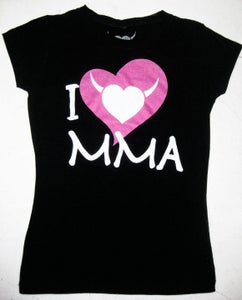 Image of I Love MMA - Ladies Stretch Crewneck T-Shirt w/Pink Logo