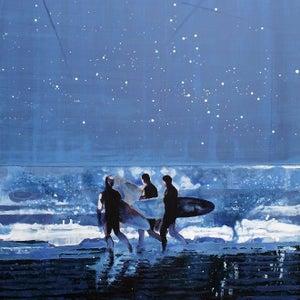 Image of Night Ocean Surfers Cornwall