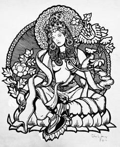 Image of WHITE TARA - Amigos de los Muertos ORIGINAL INKED ILLUSTRATION