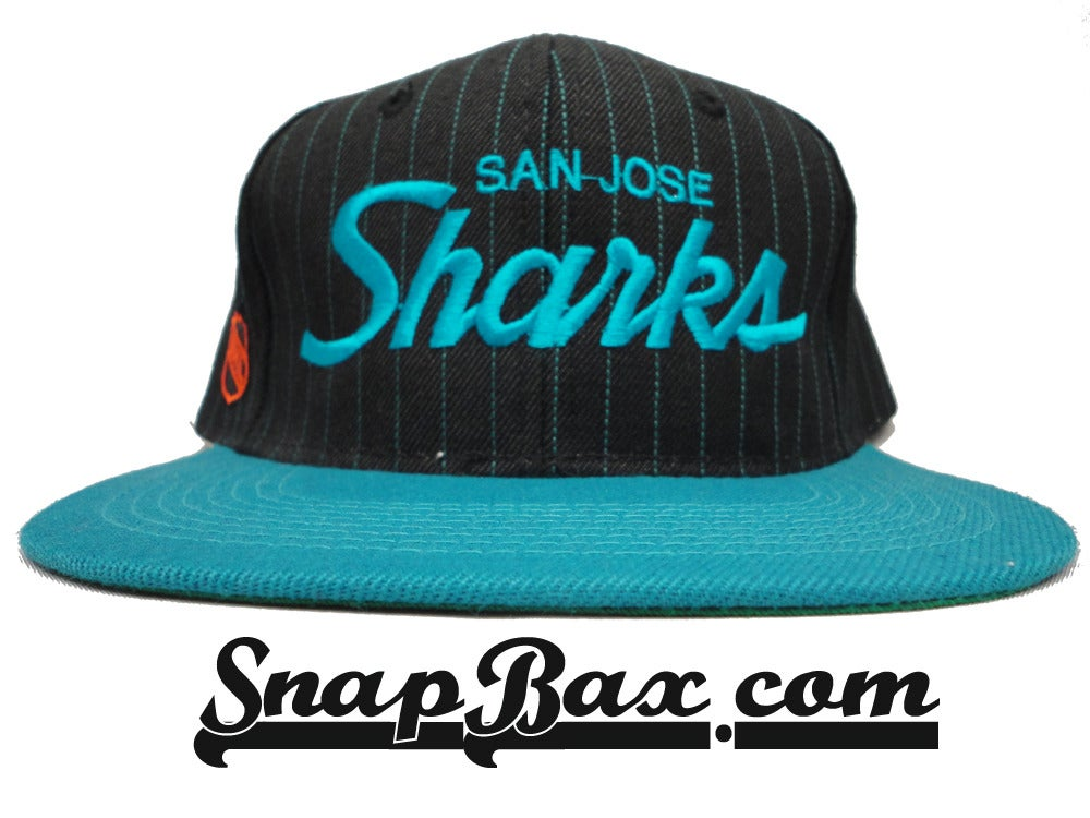 Image of Vintage Deadstock San Jose Sharks Pinstripe Sports Specialties Wool Script Snapback Hat Cap