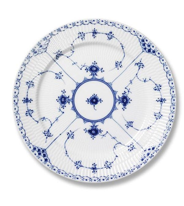 Image of Blue Fluted Half Lace -- Bread Plate