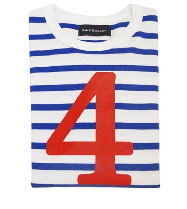Image of Birthday Tee (No. 1-5), French Blue & White