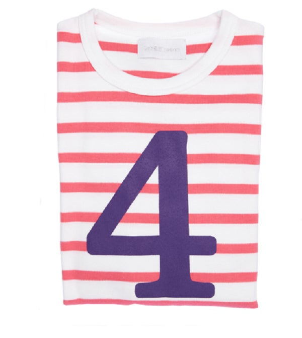 Image of Birthday Tee (No. 1-5), Coral Pink & White